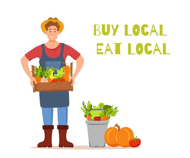 Mangiare prodotti biologici locali concetto di vettore del fumetto. illustrazione colorata di uomini di carattere contadino felice che tengono scatola con verdure coltivate.