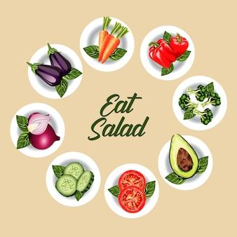 Mangia poster di lettere di insalata con verdure nei piatti intorno