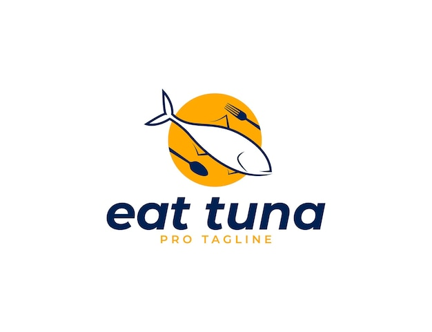 Mangia il design del logo dei frutti di mare di tonno