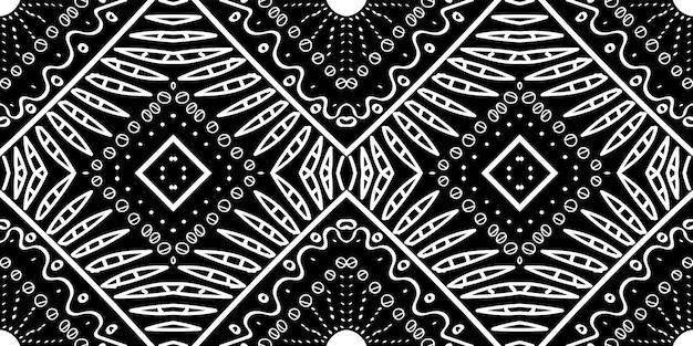 Modello senza cuciture di vettore fatto a mano di arte del messico dell'ebano. ikat stampa rustica. struttura geometrica del fumo di navajo. tessuto estivo nero illustrazione. ornamento di grafite india.