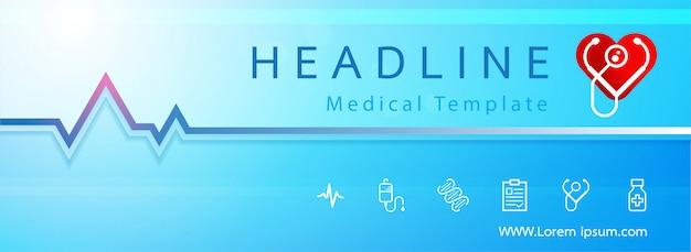 Modello di banner medico icona ecg e cuore