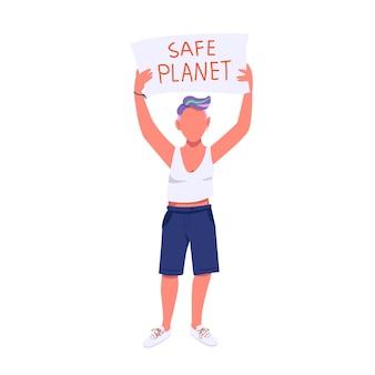 Carattere senza volto di colore piatto attivista eco. protezione della natura, protesta contro l'inquinamento ambientale. giovane donna che tiene l'illustrazione del fumetto isolata cartello per web design grafico e animazione