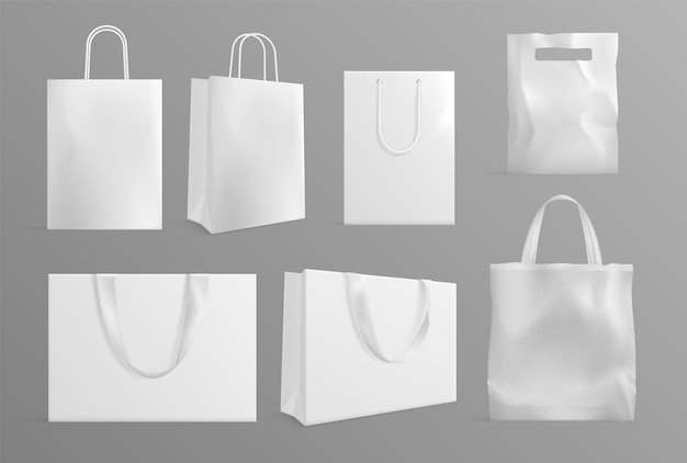 Modello di borsa ecologica. borse di carta tela realistiche. confezioni riutilizzabili in materiale moderno o cotone per gli acquirenti