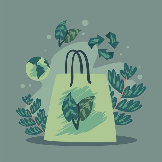 Borsa ecologica con foglie e icone