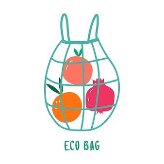 Eco baggo green no plastic save the planet shopper riutilizzabile in tessuto con frutta