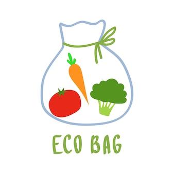 Eco baggo green no plastic save the planet shopper riutilizzabile in tessuto con verdure