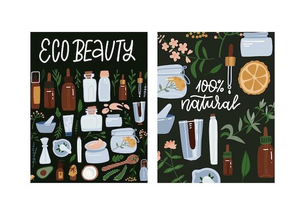 Prodotti cosmetici per la cura della bellezza ecologica. cosmetici naturali. illustrazione disegnata a mano piatta. set di due poster.