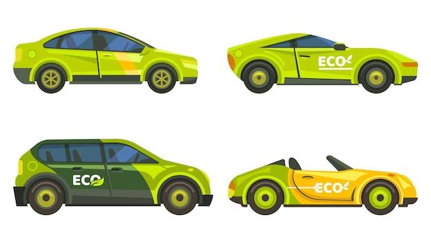Auto ecologiche o veicoli ecologici di trasporto, energia elettrica ed ecologia. auto elettriche con cartello verde foglia, furgoni urbani e taxi, tecnologia automobilistica ecologica
