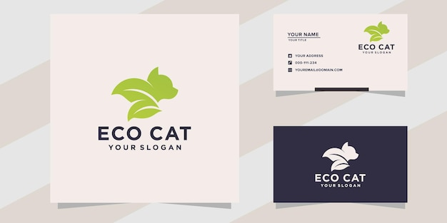 Modello di logo del gatto ecologico