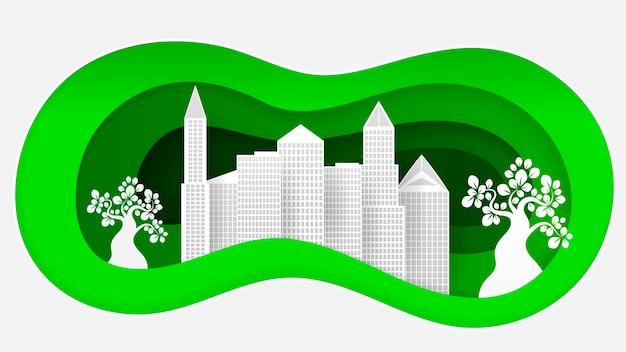 Illustrazione vettoriale di carta stile eco città per le tue esigenze