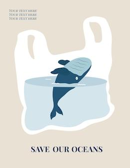 Manifesto del concetto di eco con balena blu. protezione dell'ambiente.