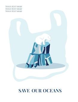 Manifesto del concetto di eco con l'orso polare. protezione dell'ambiente.