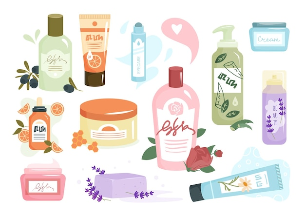 Cosmetici ecologici per l'illustrazione vettoriale di cura della pelle. contenitore detergente aroma shampoo organico cartone animato, confezione con crema viso a base di erbe, gel doccia per pulire i capelli o il corpo, cosmetologia isolato su bianco