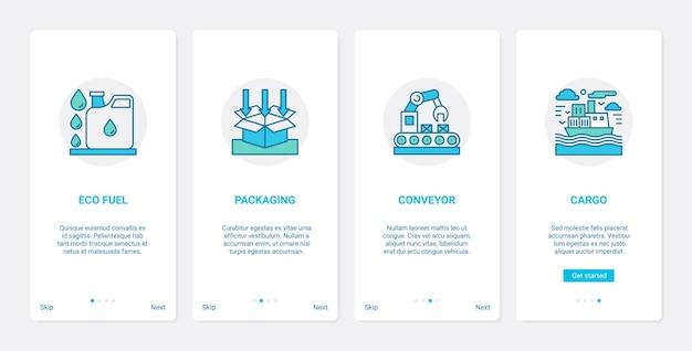 Set di schermate della pagina dell'app mobile per l'onboarding dell'interfaccia utente ux della tecnologia di consegna ecologica