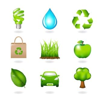 Elementi di design eco e icone isolate