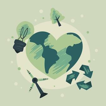 Cuore di terra ecologica con icona impostata su sfondo verde