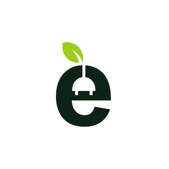 Logo eco elettricità con simbolo iniziale e