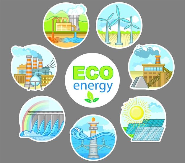 Infografica sull'energia ecologica con la centrale elettrica a energia alternativa e l'illustrazione del design della fabbrica