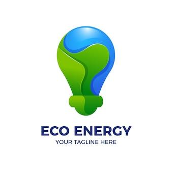 Modello di logo 3d di eco energy light bulb