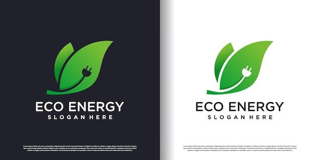 Modello di logo di energia ecologica con stile creativo vettore premium