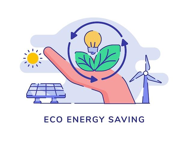 Eco concetto di risparmio energetico con lampada a bulbo foglia mano tenere