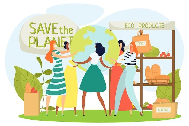 Eco mercato alimentare zero sprechi alimentari illustrazione vettoriale donna persone carattere compra borsa organica naturale...