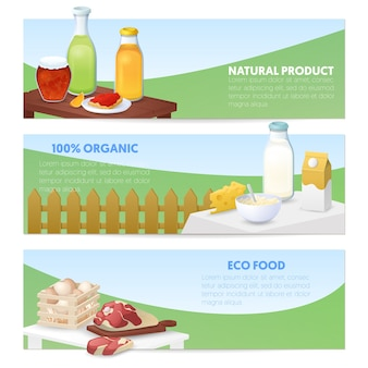 Eco food. bandiere orizzontali di prodotti naturali con latte, formaggio e carne.