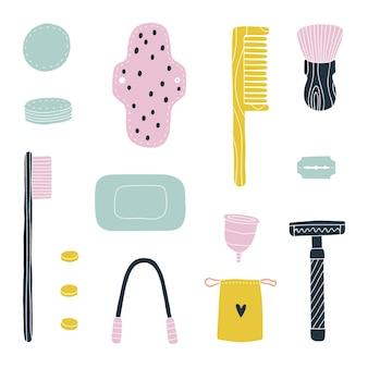 Kit da bagno ecologico. articoli da toeletta a zero sprechi. disegnato a mano