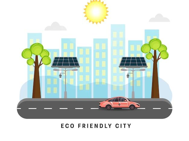 Concetto di città amichevole di eco con lampioni solari, edifici e strada del veicolo su priorità bassa del sole.