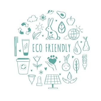 Set di icone disegnate a mano di ecologia amichevole di eco