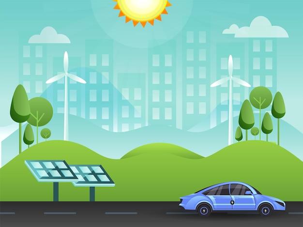 Fondo verde amichevole di eco della città con il pannello solare, la strada del veicolo ed il sole.