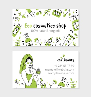 Biglietto da visita di cosmetici biologici naturali ecologici con donna