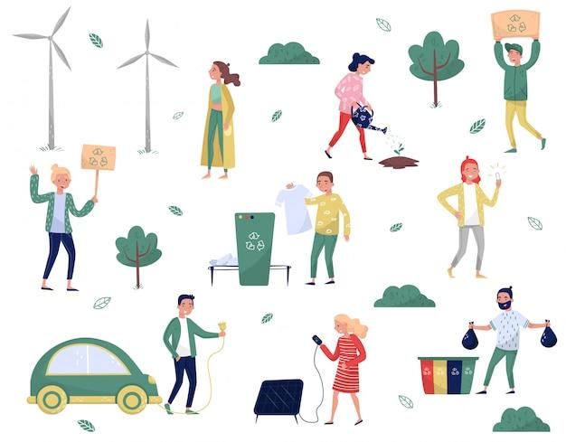 Set di persone eco-compatibili, uomo e donna che proteggono l'ambiente, smistano e raccolgono rifiuti, usando energia alternativa e trasporto ecologico illustrazioni su sfondo bianco