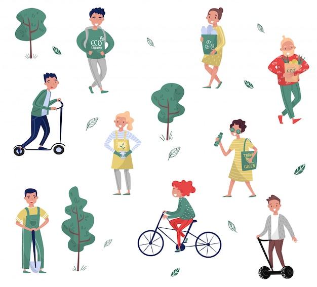 Set di persone eco-compatibili, uomo e donna che proteggono l'ambiente, utilizzando mezzi di trasporto alternativi, raccolta di rifiuti illustrazioni su uno sfondo bianco