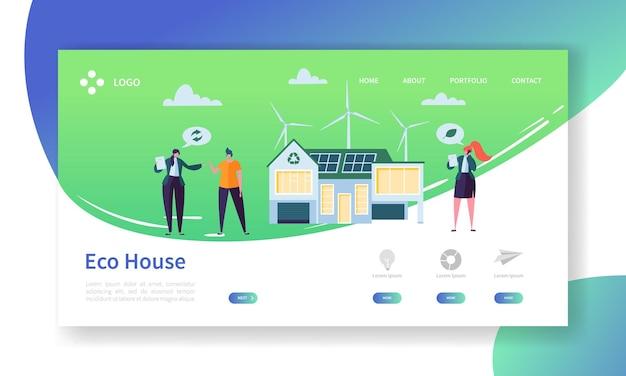 Pagina di destinazione della tecnologia domestica di energia solare ed eolica rinnovabile ecologica.