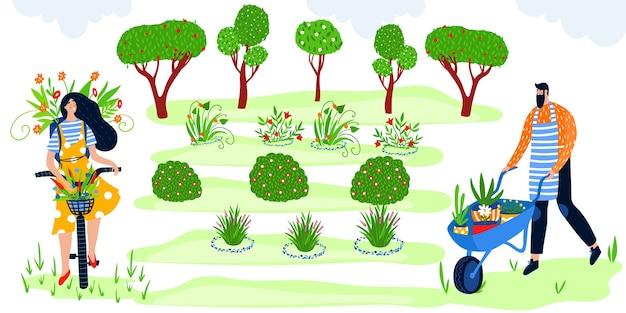 Le persone felici del giardiniere dell'illustrazione di vettore piatto di giardinaggio di eco si divertono, i personaggi del contadino godono del lavoro agricolo nel giardino verde con alberi da frutto e fiori, hobby agricolo di agricoltura ecologica