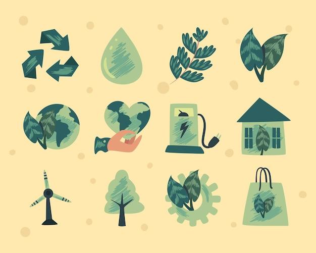 Collezione di icone eco e verde su sfondo giallo