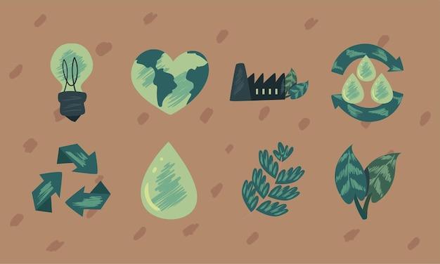 Collezione di simboli eco e verde su sfondo marrone