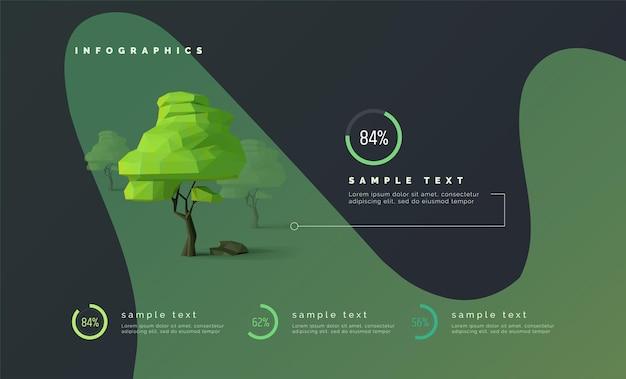 Infografica eco con alberi low poly diagrammi percentuali barra di avanzamento albero 3d