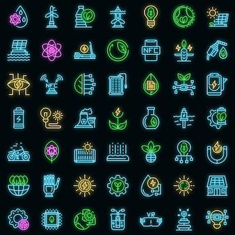 Icone di innovazione eco impostate vettore neon