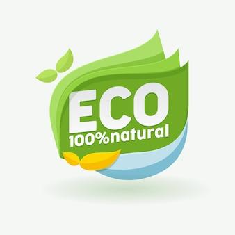 Etichetta ecologica. distintivo naturale al 100% per prodotti sani, alimenti freschi di fattoria