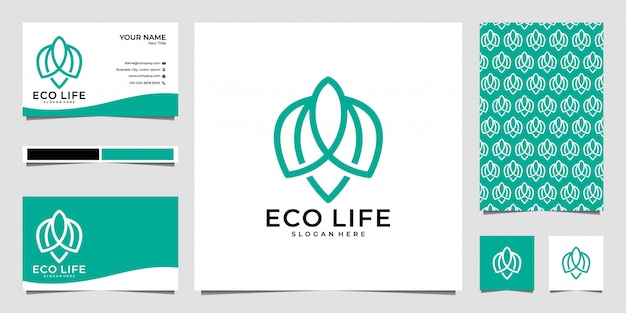Design del logo in stile arte linea di vita eco, biglietto da visita e modello