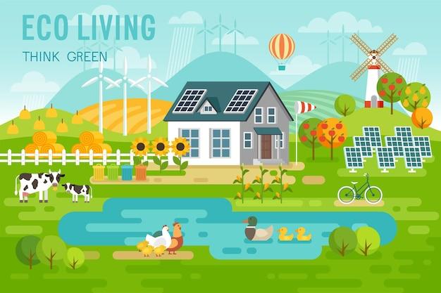 Paesaggio ecologico con casa ecologica e animali da fattoria