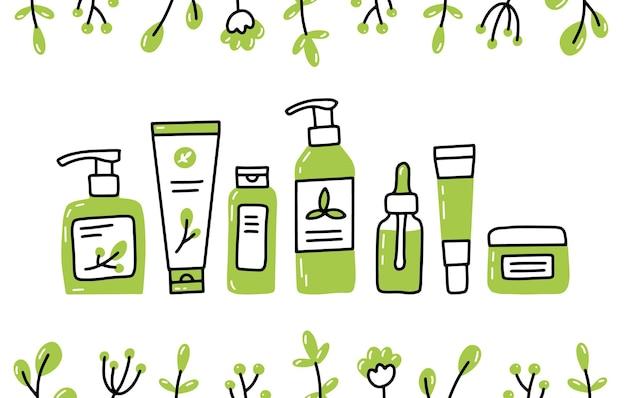 Cosmetici biologici naturali eco impostati in stile doodle