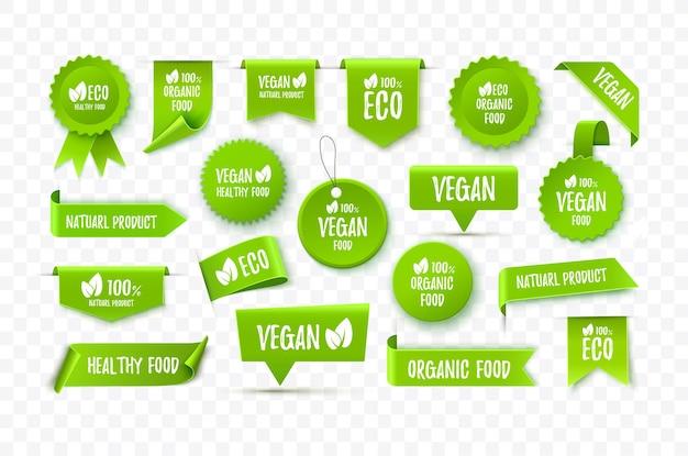Etichette eco organiche vettoriali etichette etichette alimentari vegane sono isolate su sfondo bianco illustrazione vettoriale