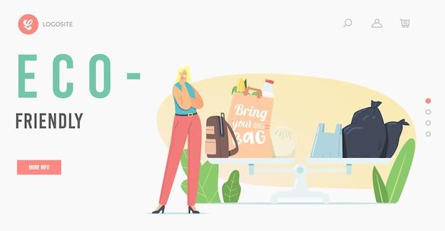 Modello di pagina di destinazione dell'eco pack. piccolo personaggio femminile premuroso in piedi su una bilancia enorme con sacchetti di plastica ed ecologici. protezione dell'ecologia, arresto dell'inquinamento del pianeta. fumetto illustrazione vettoriale