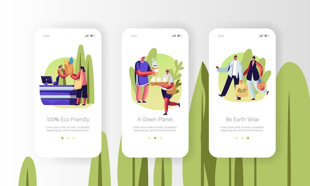 Eco packing mobile app pagina onboard screen set concept