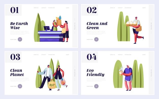 Set di modelli di pagina di destinazione del sito web di imballaggio ecologico.