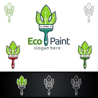 Eco pittura logo con pennello e foglia concetto organico