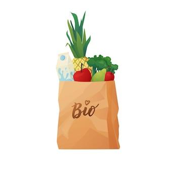 Borsa della spesa in carta ecologica con concetto di cibo